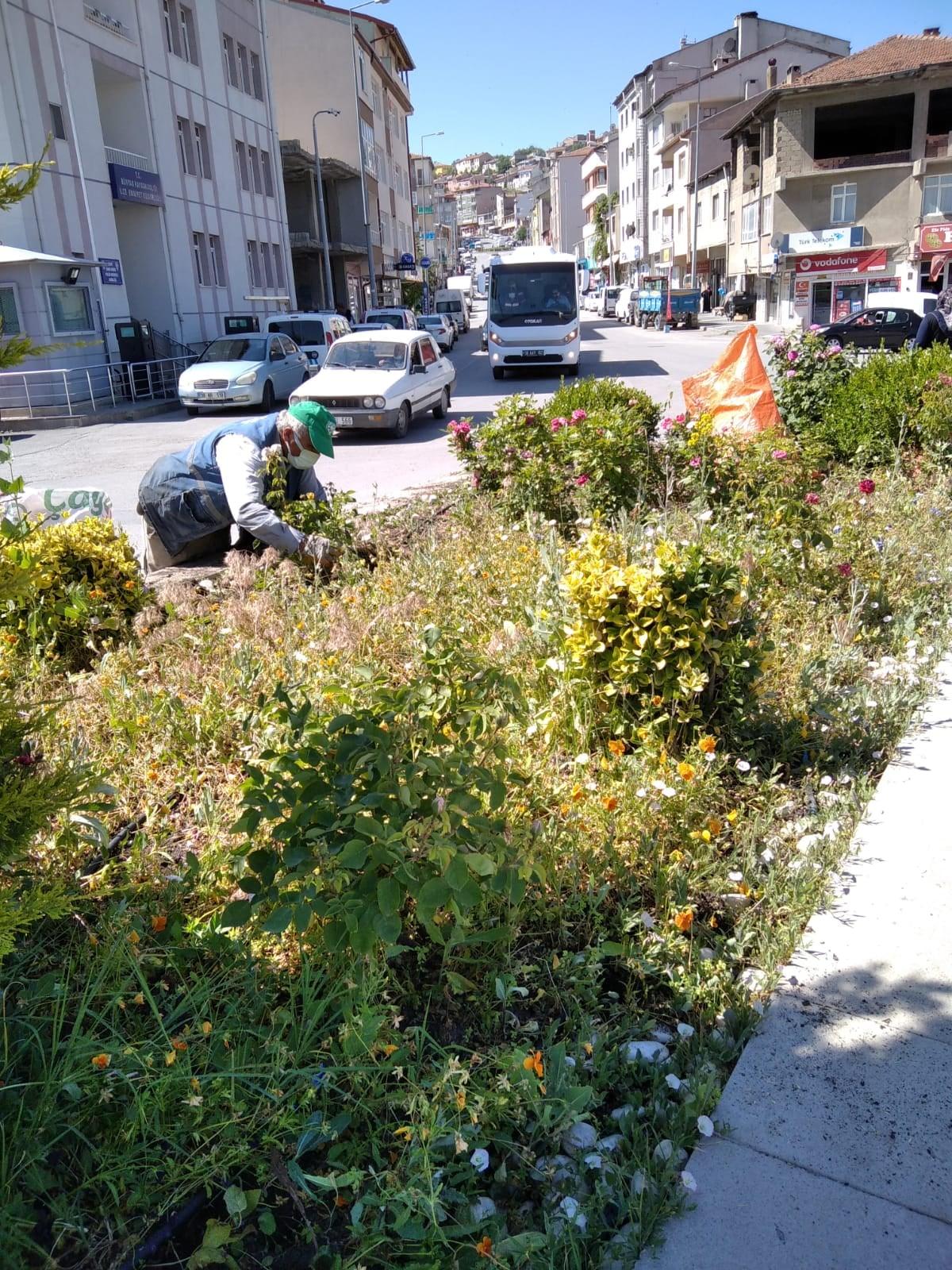 İlçe genelinde bulunan caddelerde ve parklarımızda çevre düzenleme çalışmaları devam ediyor
