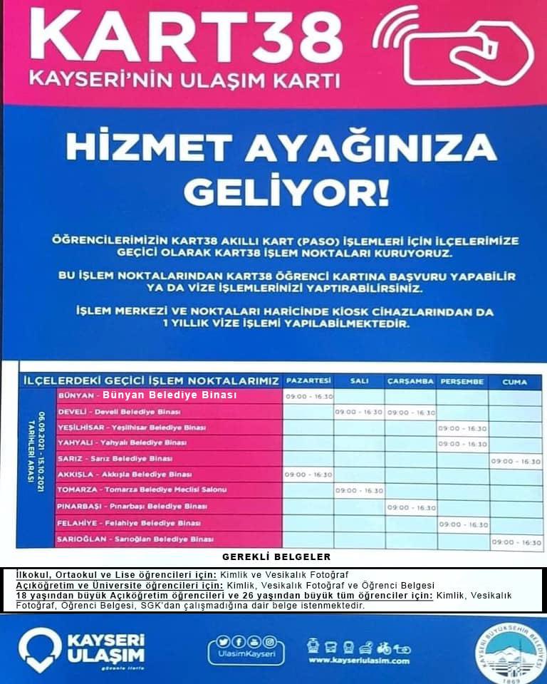 Öğrenciler ve öğretmenler için Bünyan Belediye Binasında Pazartesi günleri 09:00-16:30 saatleri ara