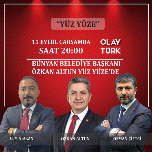 Belediye Başkanı'mız Özkan Altun, bugün saat 20:00'da OLAY TÜRK TV'de.